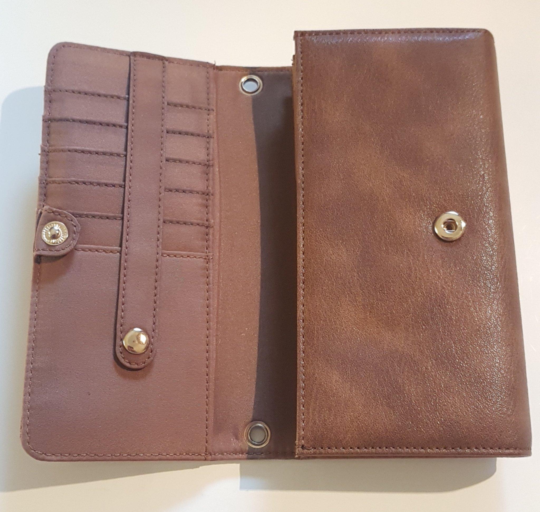 mobil plånbok väska brun
