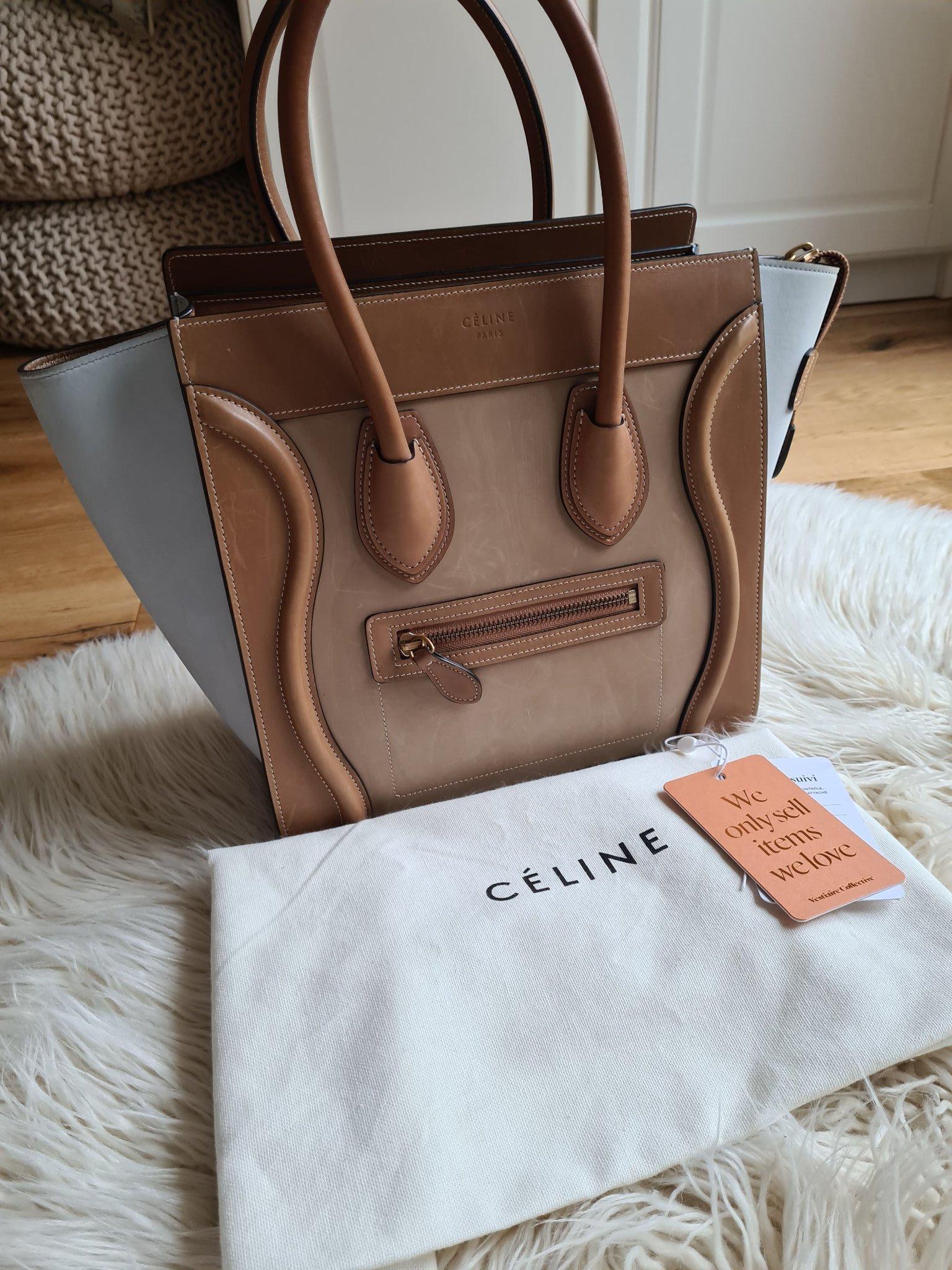 Celine micro luggage väska ekbrun beige kalvskinn
