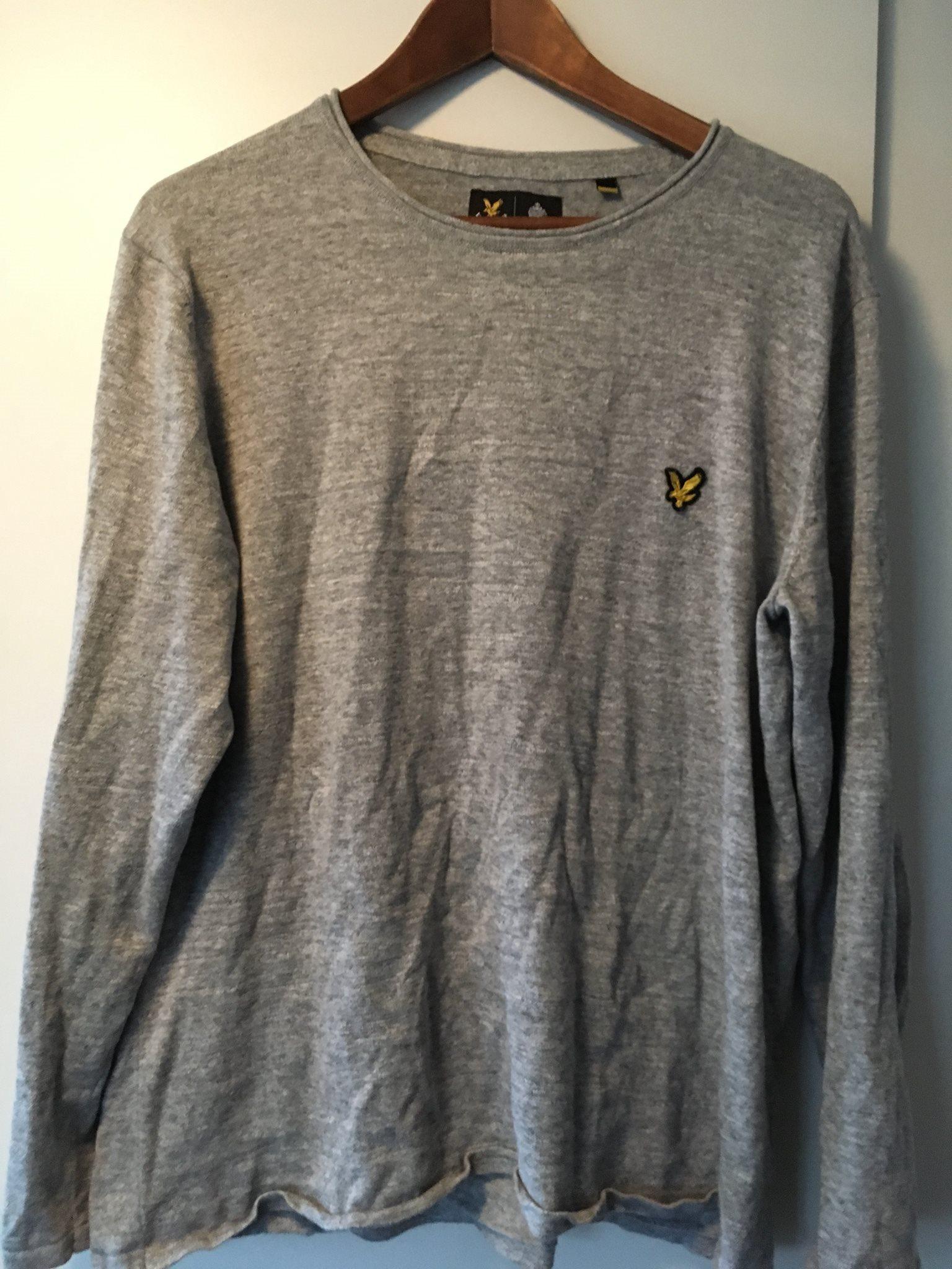 Lyle o Scott tröja i bomull/ lin grå XL