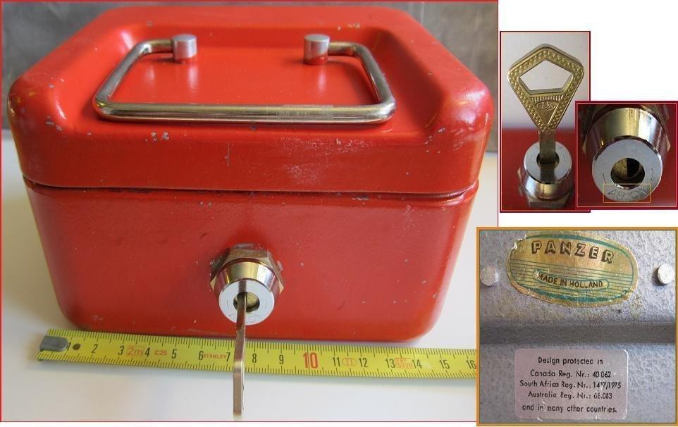 Vintage Red color Key Locking Cash Box