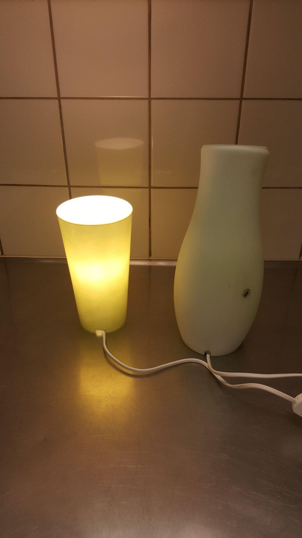 Retro 2 st IKEA glas bordssäng fönster lampor