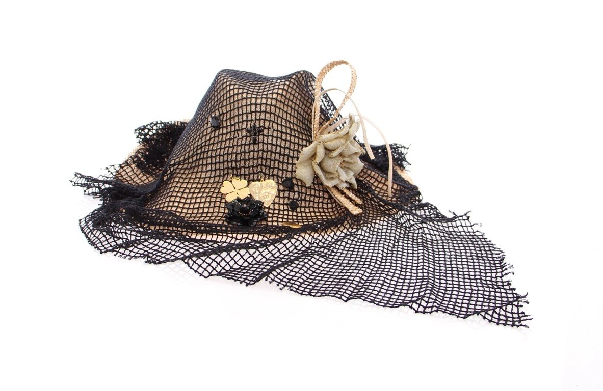 Dolce & Gabbana - Black Beige Straw And Fabric Floral Hat