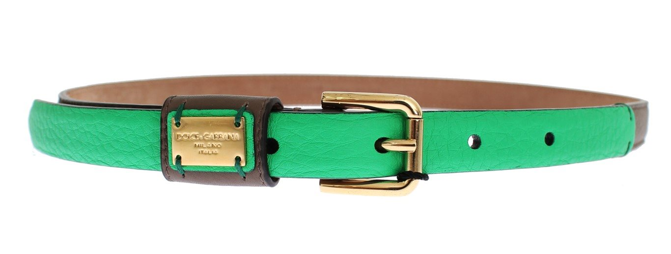 Dolce & Gabbana - Brown Leather Gold Buckle Logo Waist Belt