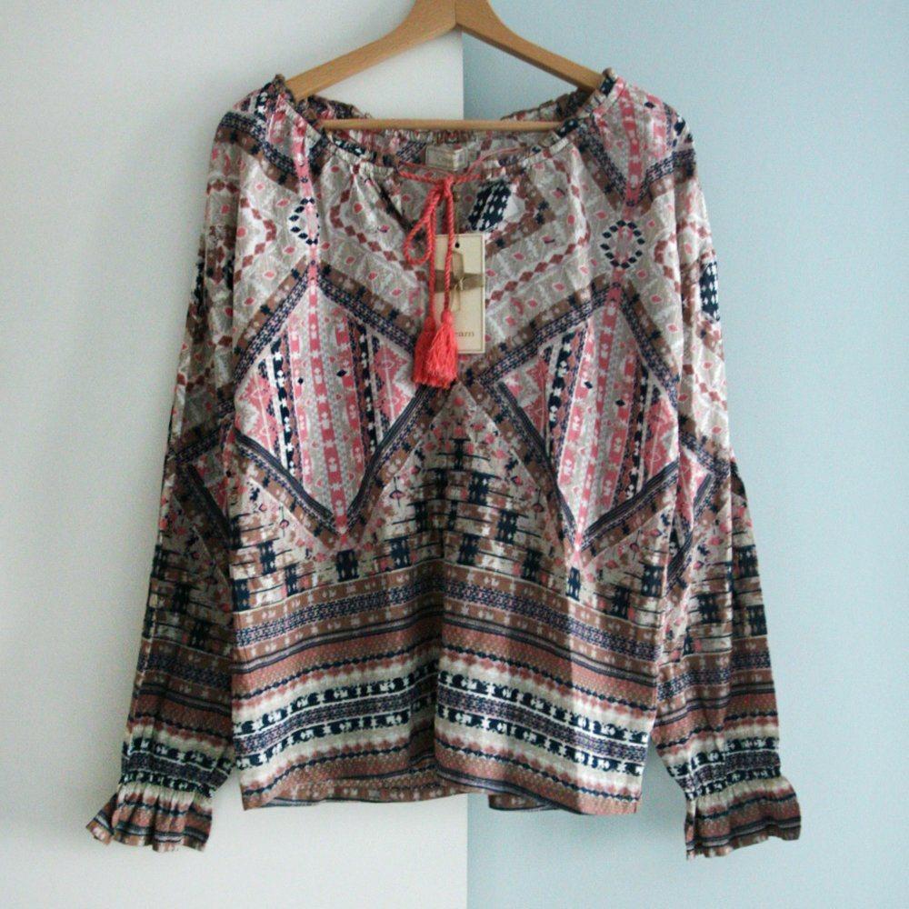 Ny Cream aztec retro print skjorta blus topp bomull boho hippie festival 40  L 8fbf2cb09e54d