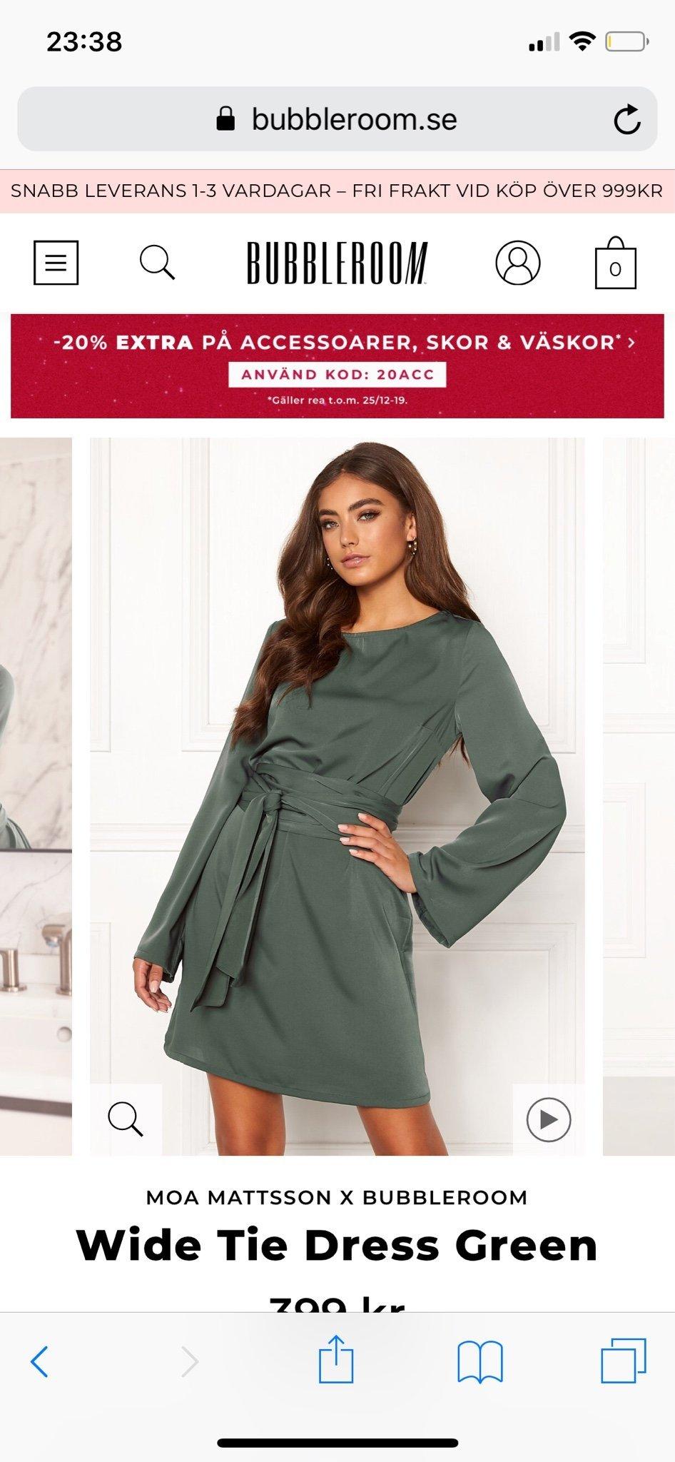 MOA MATTSSON X BUBBLEROOM Wide Tie Dress Green grön klänning