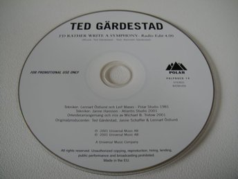 TED GÄRDESTAD I 'd rather write a symphony PROMO CD SINGEL RARITET