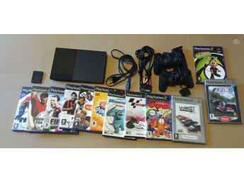 PlayStation 2 Konsol, 2 Handkontroller , 12 SPEL + Minneskort - PS2