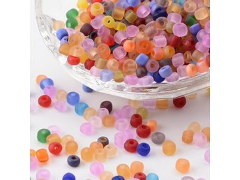 Frostade Seed Beads Mixade Färger - 4 MM