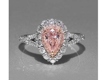 Gorgeous Modernist Genuine Pear Cut Pink Cubic Zircon Halo Ring R1680-9