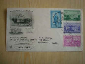 National Capital Sesquicentennial Stamps Washington 1950 USA förstadagsbrev