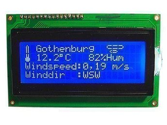LCD Display 4x20 Blå med vita tecken HD44780 NY!