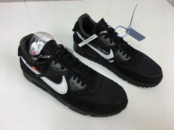 Off-White x Nike Air Max 90 Black Stl. EUR45, US11, UK10. Oanvända i kartong