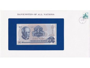 Franklin Mint Banknotes of All Nations + stamp: Norway 10 Kroner (1982) P-36 UNC
