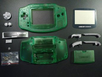 Skal Crystal-Green med knappar + skärmskydd till GameBoy Advance Game Boy