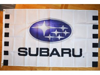 Subaru Rally Flagga 90*150cm (Racing-Stripes, Vit/Svart m. L