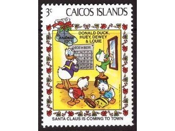 Disney, Turks and Caicos, 3-cent Donald Duck, Huey, Dewey, and Louie