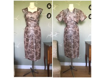 65e9a8fdef12 Sidenklänning vintageklänning 1950 1960 vintage retro siden 50-tal rosor