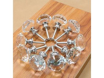 10Pcs Diamond Shape Crystal Glass Pull Handle Kitchen Cabinet Drawer Door Knob