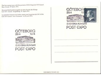 FDC-kort 29/4 1974 Carl XVI Gustaf POST-EXPO