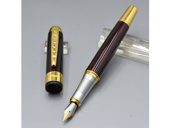 2 Dark red Fountain pen with Gold clip Stationery office + Ballpoint exakt lika