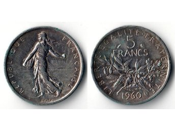 5francs The Sower Frankrike 1960 Silver 12g 835