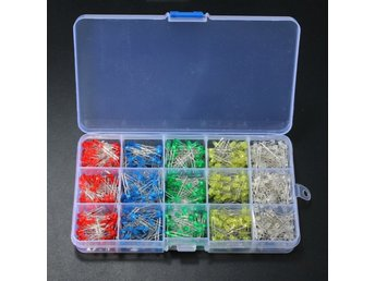750 Pcs 3mm LED Diode Yellow Red Blue Green White Assortm...