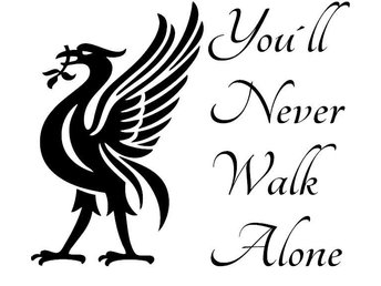 YOU`LL NEVER WALK ALONE Liverpool Väggord Dekal YNWA