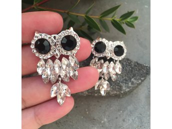 Big owls earrings fina örhängen strass fest smycken #ploypailin