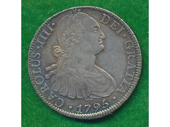 MEXICO  -  stort  silvermynt  -  8  REALES  1795