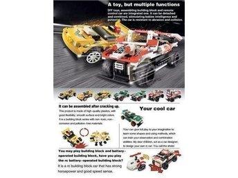 Javascript är inaktiverat. - Markaryd - Bilen måste först byggas.Kan köra fram och tillbaka, och svänga höger och vänster.4 olika frekvenser kan väljas på fjärrkontrollen.Rekommenderas från 8 år.Produkten använder 3AA batterier i bilen och 3AAA batterier i fjärrkontrolle - Markaryd
