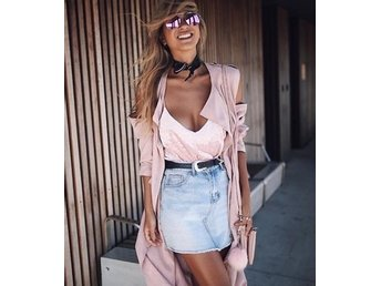 Cold shoulder pink long trench coat vårjacka