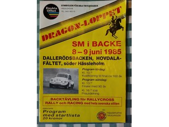 Program DRAGONLOPPET SM backe bilar 8-9/6 1985 Hässleholm Sv eliten