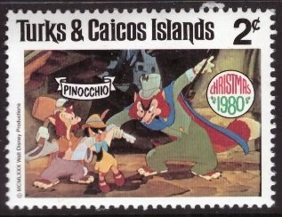 Disney, Turks and Caicos, 2-cent Pinocchio, Scott 445