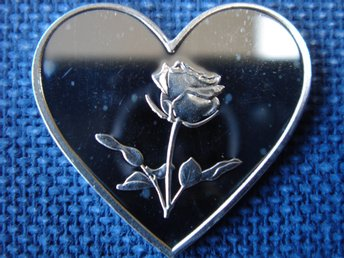 Heart Love Rose silvertacka 1 gram 0,999 tacka i silver