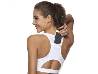 Phone Pocket Sport Bra Large, Vit