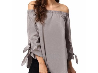 Blus Off Shoulder Grå Strlk L