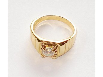 Goldfilled, 18K Guldfylld Ring med Kristallklar Topas 21mm