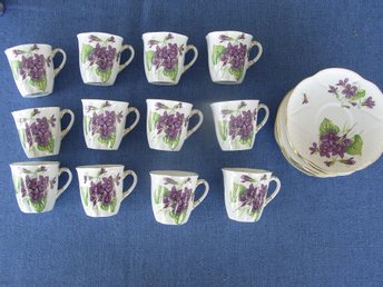 12 st Fine Bone China Shelly England Violets moccakoppar med 12 st fat