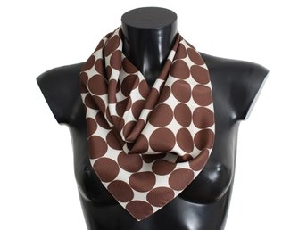 Dolce & Gabbana - White Brown Polka Dot Print Silk Scarf