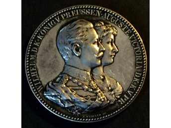 MEDAL-Silver Anniversary Medal of German Emperor Wilhelm II and Augusta Victoria