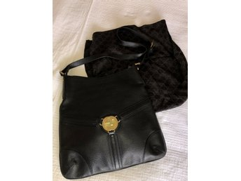 Vintage Gucci leather bag with suede inside GG gold metal