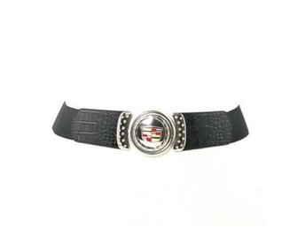 Cadillac Women Gold Buckle Vinyl Stretch Svart Bälte.
