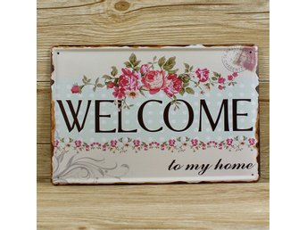 Welcome Home Plåt Skylt Dekoration Hem Vägg Vintage Retro Ku