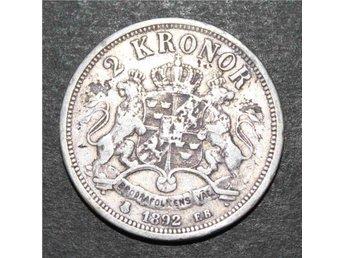 SVERIGE - 2 kronor 1892 - Flagad - Silvermynt 80% - Silver 0.800 - åmål - SVERIGE - 2 kronor 1892 - Flagad - Silvermynt 80% - Silver 0.800 - åmål