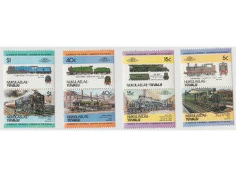 40 Frimärken Tuvalu Stamps Tåg Trains Locomotives
