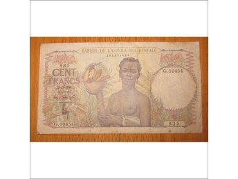 T-0121. French West Africa 100 Francs 1950 P-40 rare!