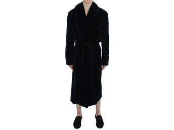 Dolce & Gabbana - Blue Velvet Cotton Sleepwear Robe