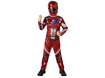 POWER RANGERS 122/128 cl (7-8 år) RED RANGER Dräkt med mask