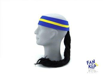 pannband i gult och blått, Fankeps, one size, frotté, svart hästsvans - Bocholt - pannband i gult och blått, Fankeps, one size, frotté, svart hästsvans - Bocholt