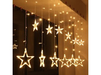 Romantisk Fairy Star Led Gardin String Light Xmas Garland Light För Bröllopsfest